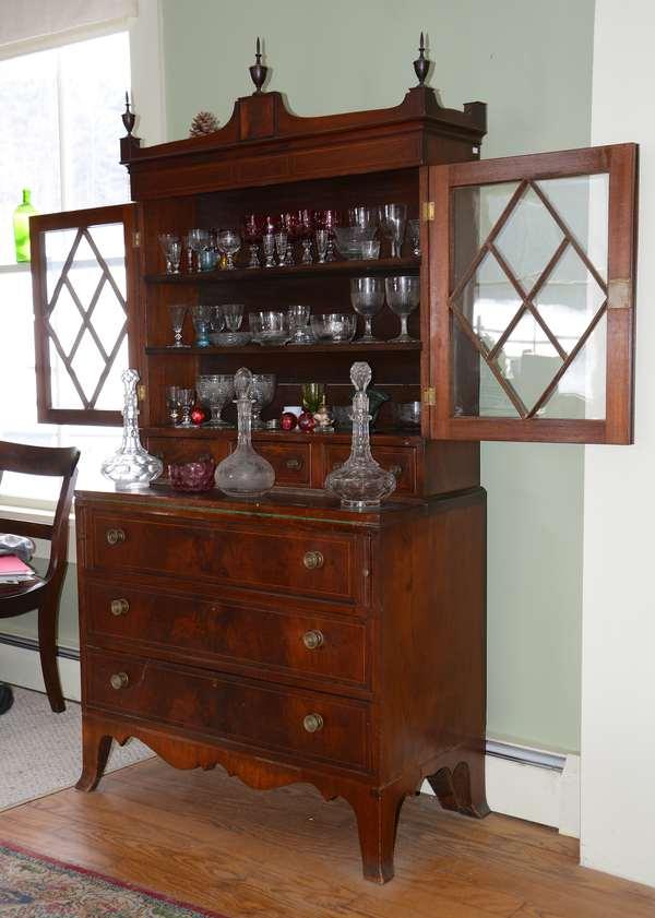 Centennial Hepplewhite secretary, inlaid mahogany (63-11)