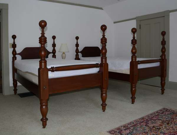 Pair of cannonball beds with bedding (25-1)