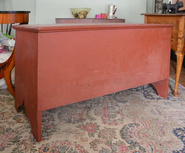 Red painted eight board blanket box, cut out base (63-7)
