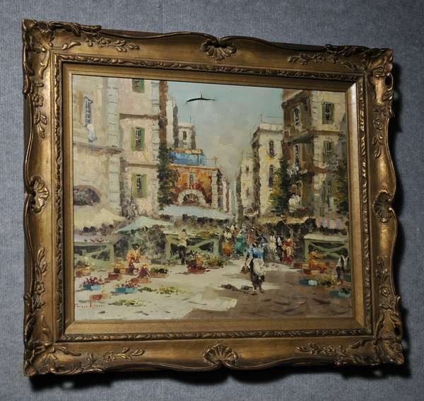 Oil on canvas, Street Market Scene, signed lower left, illegible. 20