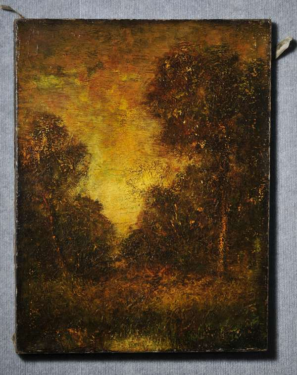 Oil on canvas, unframed, Luminist painting of forest, with heavy impasto, unsigned. 24