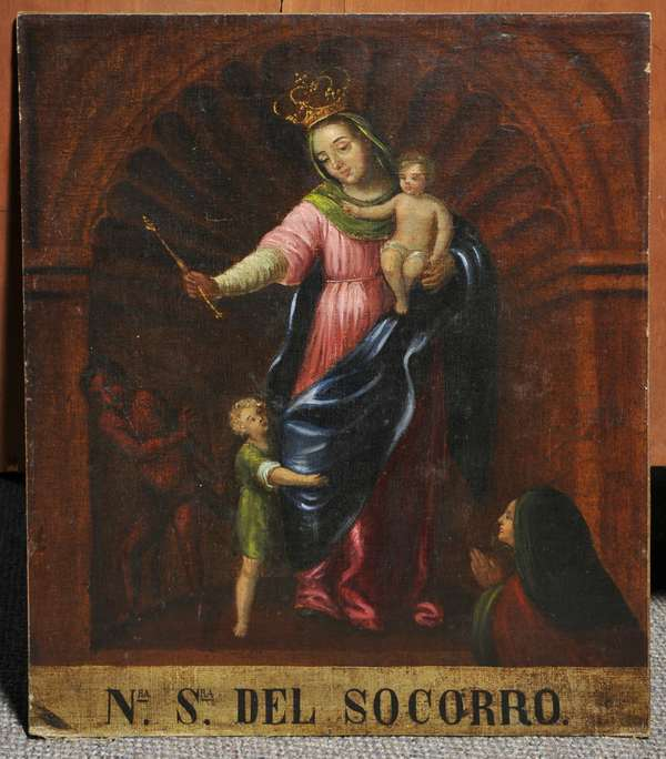 Spanish Colonial oil on canvas laid on masonite, Nuesta Senora del Socorro (Our Lady of Perpetual Help) 24