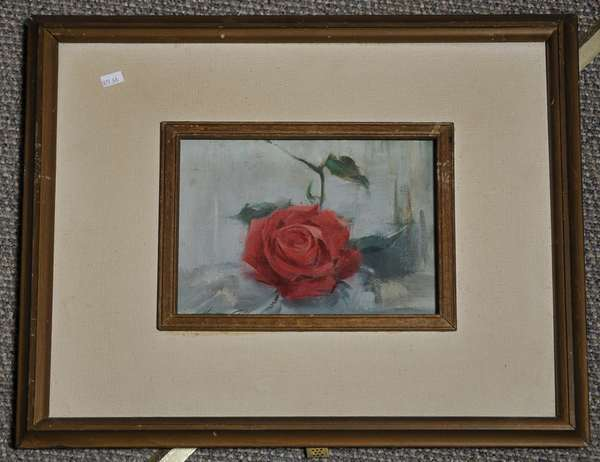 Oil on canvas, Still life of rose, signed Howard Connolly, 1958. 14