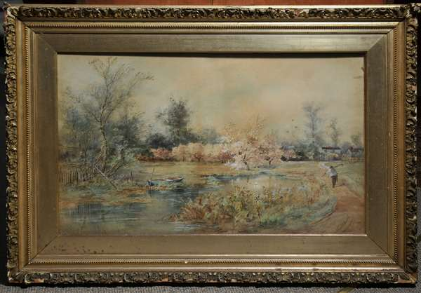Watercolor on paper, Pastoral spring landscape, signed F.S. Medairy. 21.5