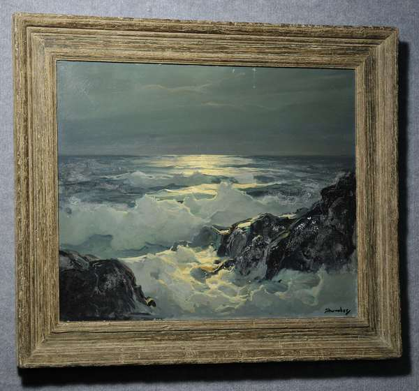 Oil on canvas, Moonlight over crashing waves, signed by Phillip Shumaker, Maine. 24