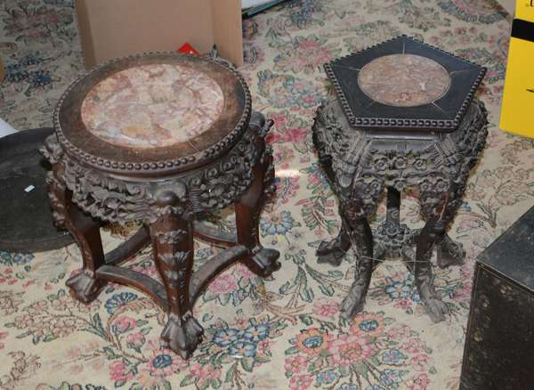 Two Chinese hardwood stands, inset marble (63-27)