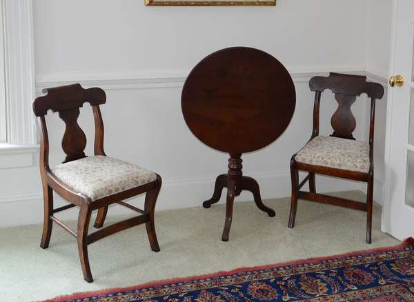 Pair of Empire chairs (25-25) & 20th C. tilt top stand (25-26)