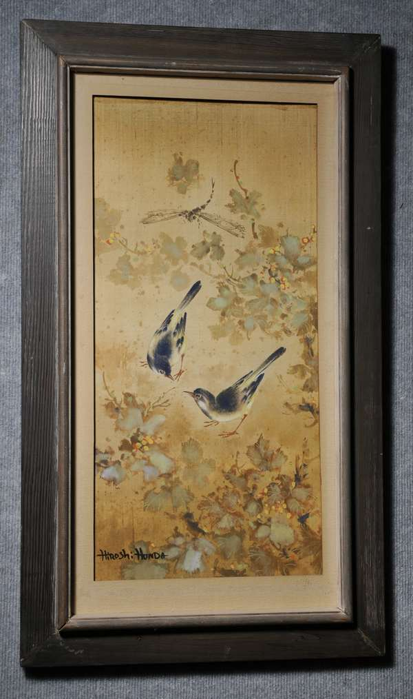Watercolor on silk, Birds in bittersweet branches, signed by Hiroshe Honda, Japanese. 27