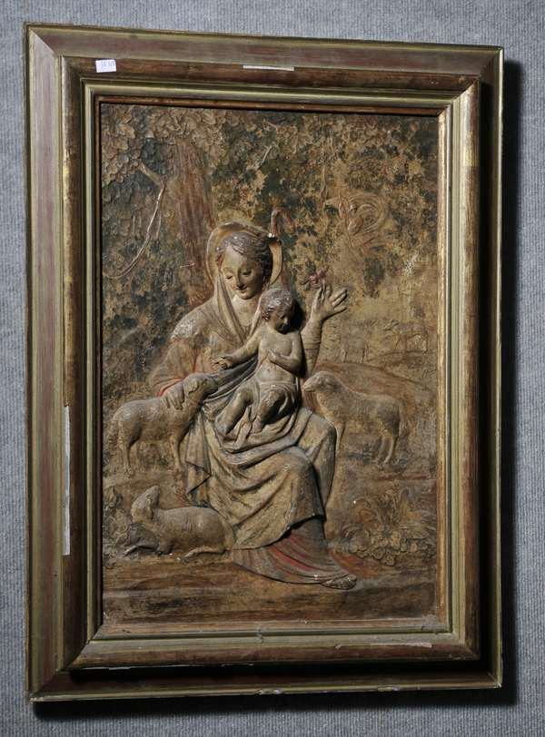 Framed and painted gesso relief of Madonna and Child, 21