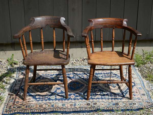 Pair of antique captain's chairs (111-9)
