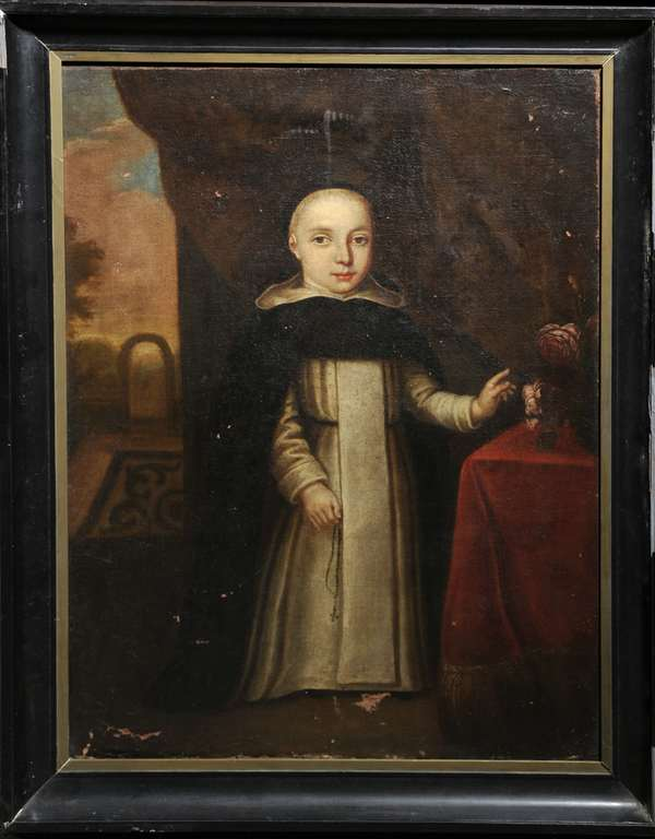 Oil on canvas, full-length portrait of child in Dominican robes, 18th-century, European. 35