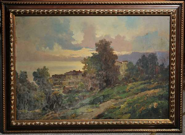Oil on canvas, Italian landscape, unsigned. 24