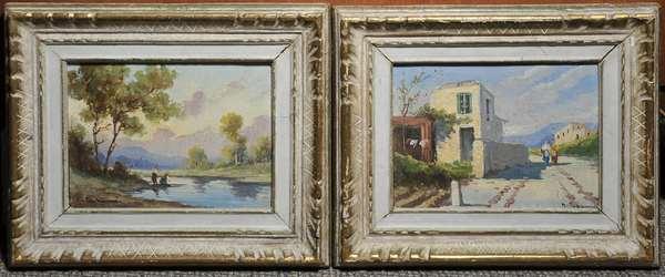 Pair of Italian oils on artist's board, Pastoral landscapes, signed Giovanni Pagliarini, 7
