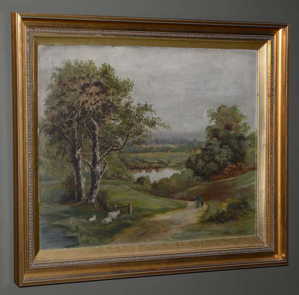 Oil painting of sheep and landscape (25-44)