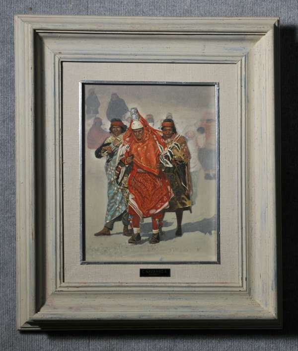 Oil on canvas, Native American ceremonial dancers by C. Navarro. 14