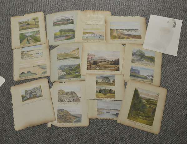Collection of sketches of English countryside including Isle of Wright, Kent, Staffordshire; approx. 19 small oils on paper, 3.5