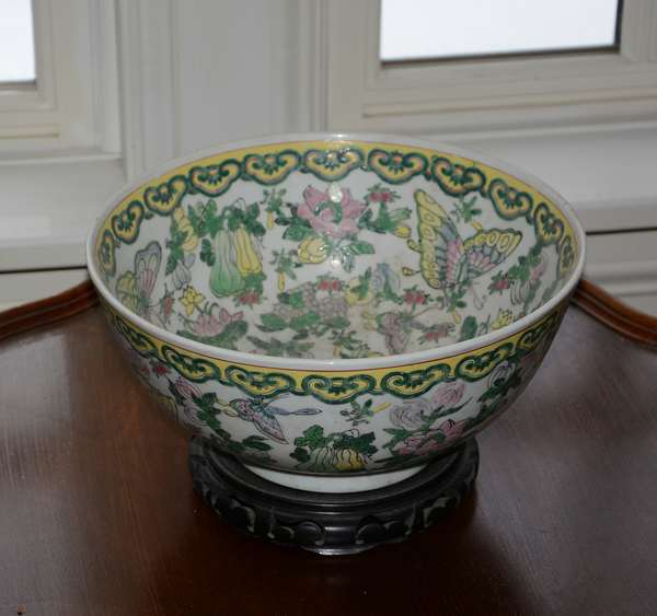 Asian bowl on stand, Lotus Arts Inc. (25-49)