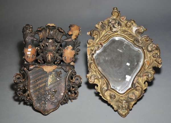 Two carved Italian fragments, with mirror (879-129)