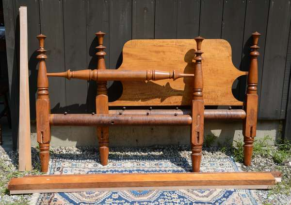 19th C. Federal four post bed, tiger maple, full size (111-16)