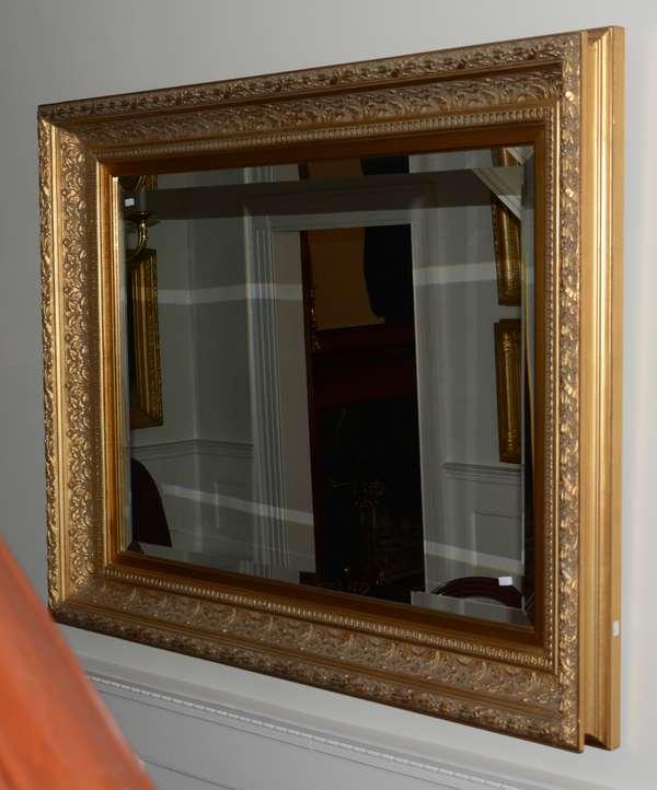 Gilt wood beveled glass mirror (21-56)