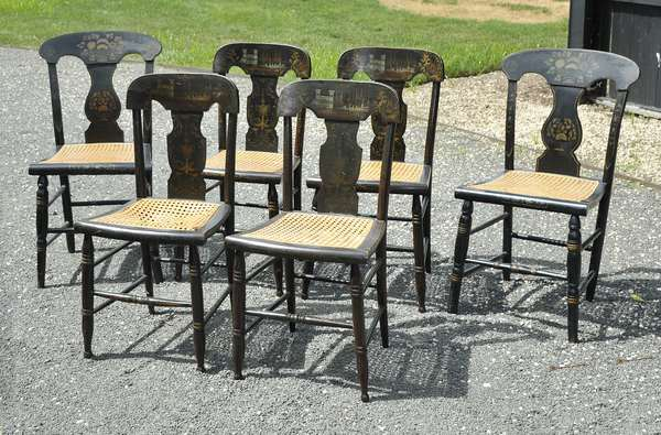 Assembled set of six 19th C. Sheraton fancy chairs, decorated (111-33)