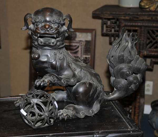 Bronze Chinese foo dog - 13.25