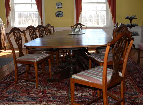 """Good 19th C. four pedestal banquet table with line inlay 12'L. x 47"""" wide (2)"""