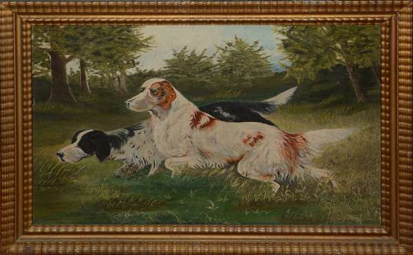 Dog painting (oil) signed Rosseau 1922 (7)