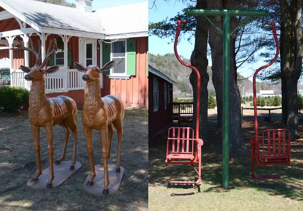 Outdoor related - 2 cast steel lawn ornaments of deer - Gunstock single chairlift-1938-Guilford, NH-1977 (8)