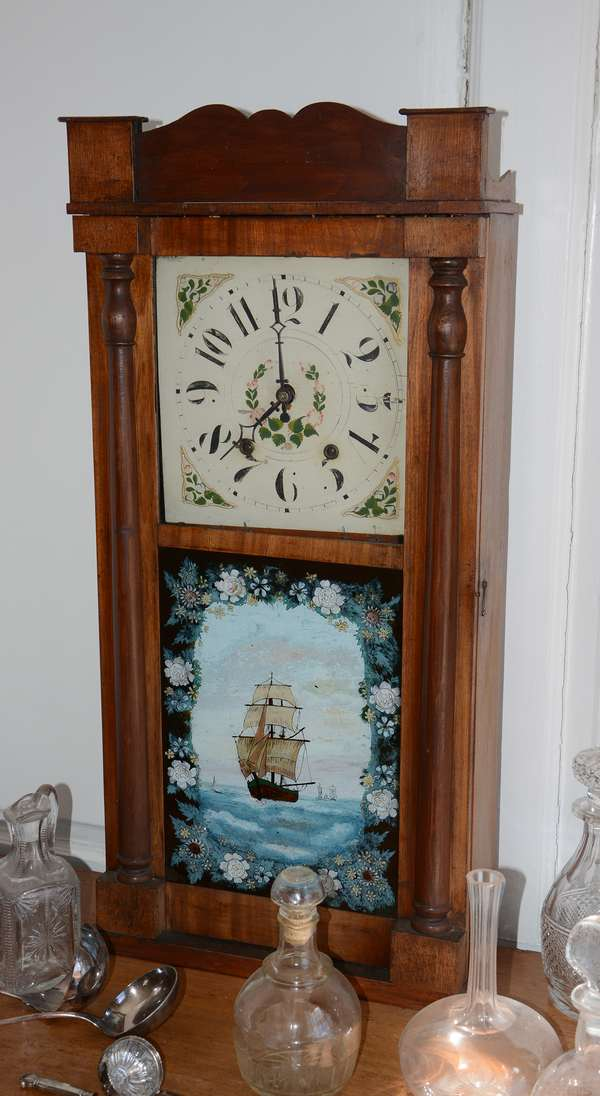 19th C. carved shelf clock with reverse painted tablet, ship (12)