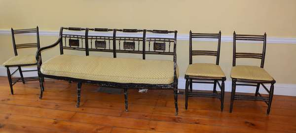 Good American Sheraton decorated fancy settee (17)