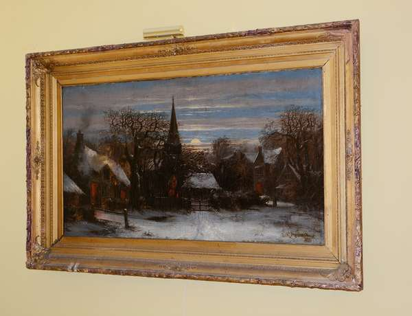 "Large oil painting scene of winter village signed B.R. Moorehead 1874-27"" x 49"" (canvas)(18)"