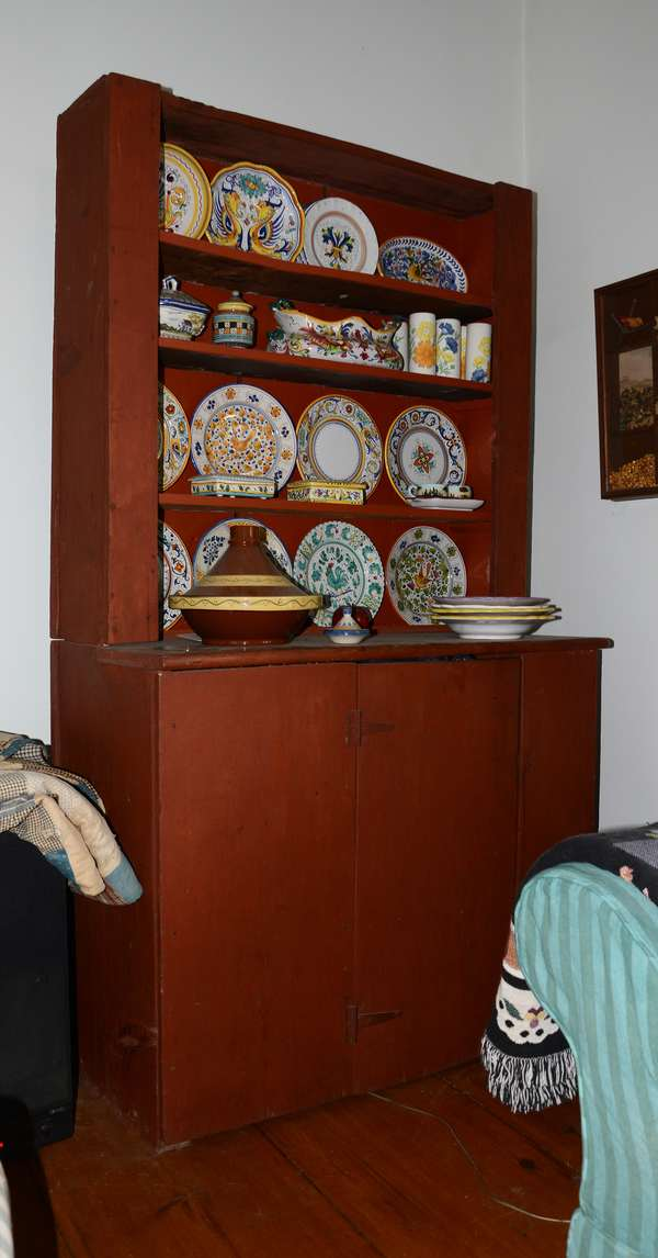 """Good country set-back cupboard in red paint 40"""" W.x 72""""H (Contents not for sale)(19)"""