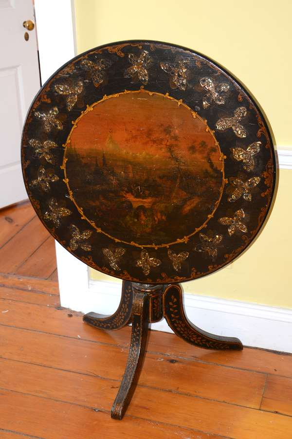Well painted and inlaid tilt top antique tea table (20)