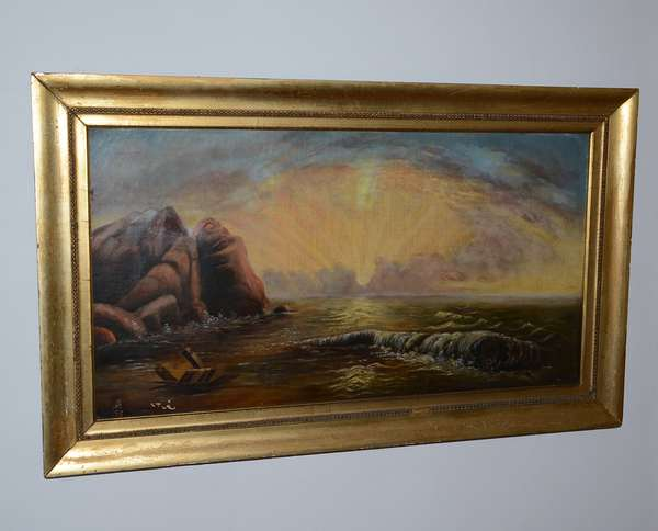 19th C. monogrammed oil on canvas, seascape (26)