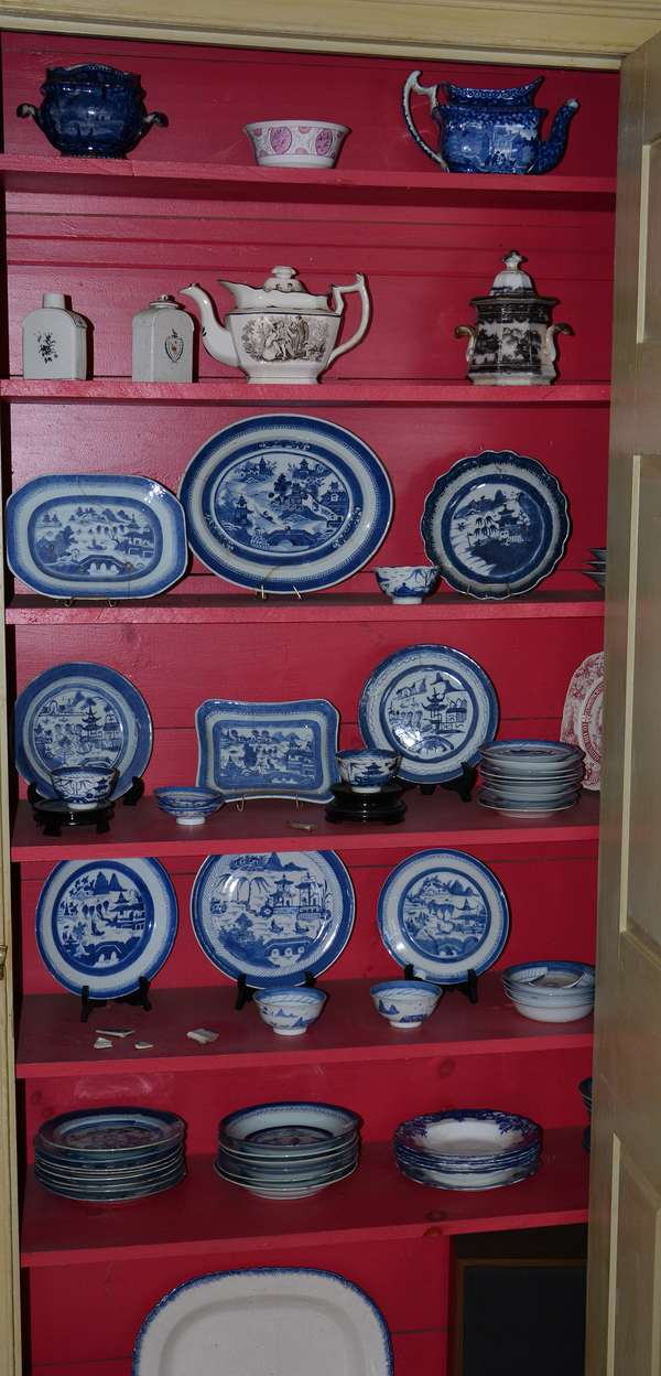 Many closets loaded with antique porcelain and glass including Canton, Historical blue, etc. (33)
