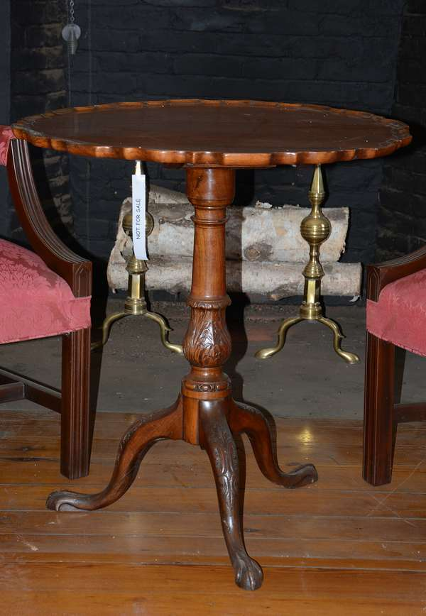 Carved mahogany tilt top tea table with pie crust top (35)