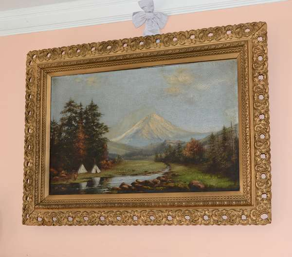 19th C. oil, mountainous landscape with encampment – well framed (44)