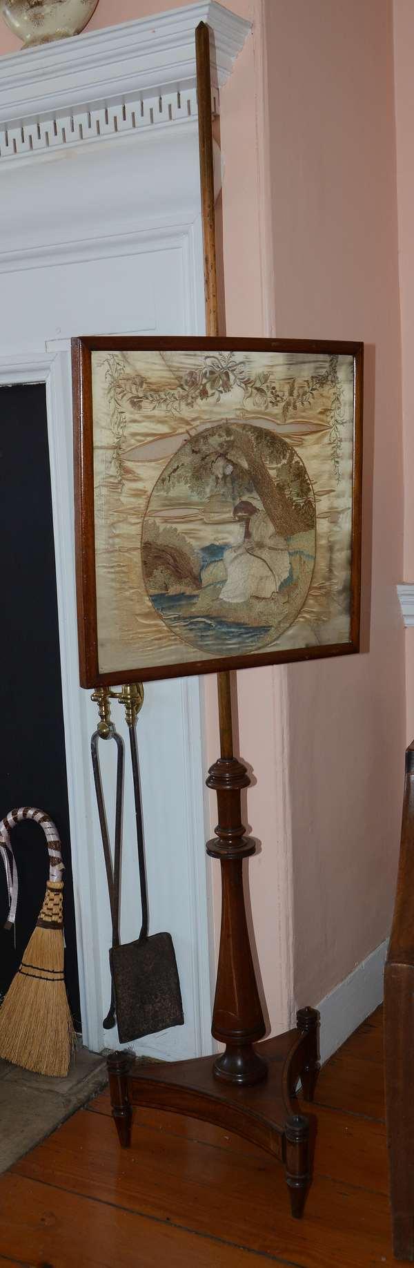 19th C. English mahogany pole screen with good needle work (43)