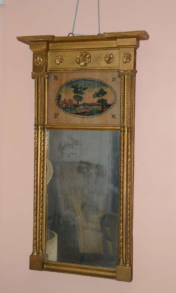 19th C. split column gilt mirror with tablet (47)