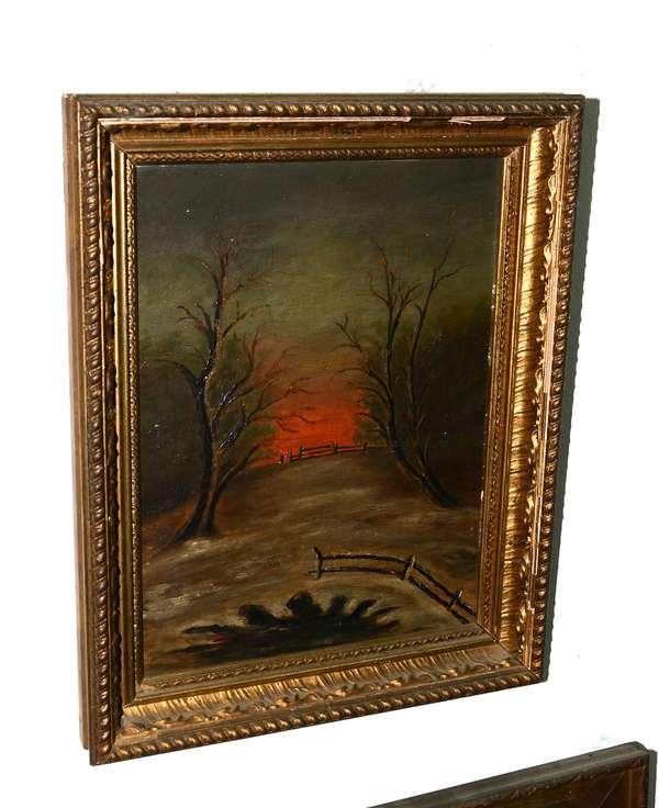 Primitive landscape/ winter scene with setting sun (51)