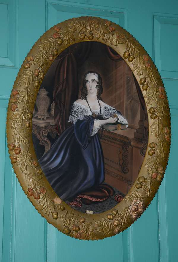 19th C. oval portrait of woman in parlor (65)