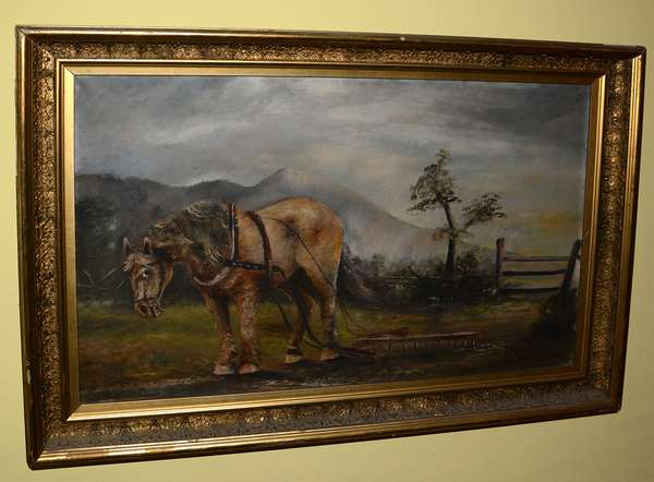 Oil, portrait of a work horse in landscape (79)