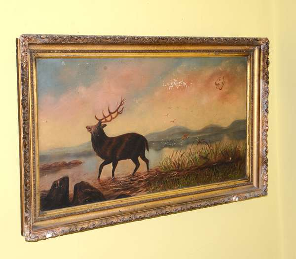 Oil, Elk in natural landscape (91)