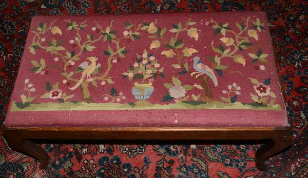 Needlepoint seat on a mahogany footstool (102)