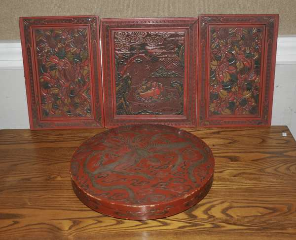 Fred Sand estate collection - cinnabar plaques and lacquer box - to be sold in lots