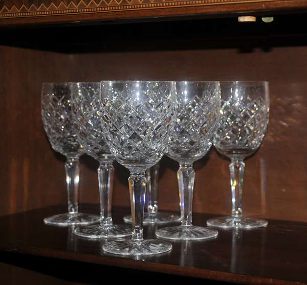 Six Waterford water glasses (208-116)