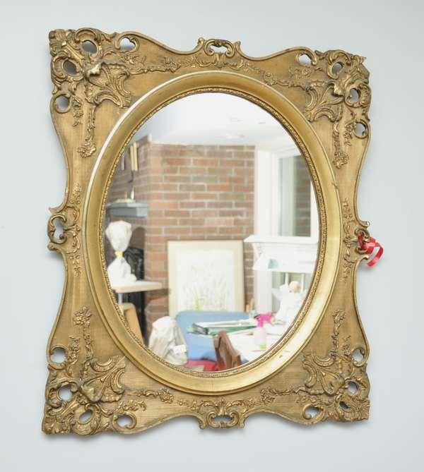Gilt wood hanging mirror (475-4)