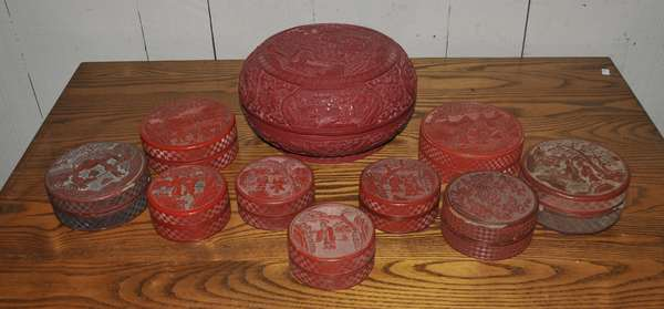 Fred Sand estate collection - Circular cinnabar boxes - to be sold in lots