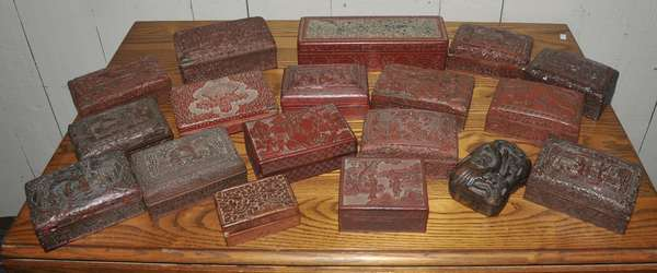 Fred Sand estate collection - cinnabar boxes - to be sold in lots